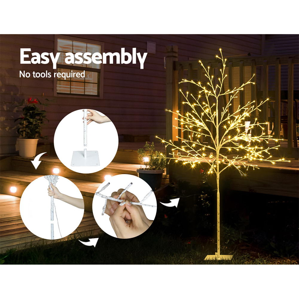 1.5M LED Christmas Branch Tree 304 LED Xmas Warm White Optic Fiber