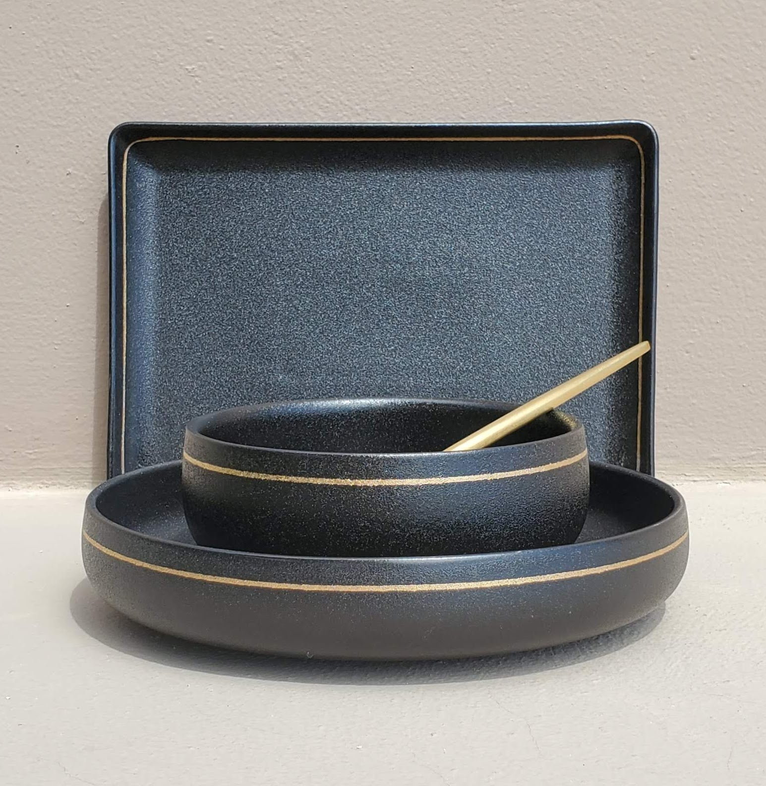 unique black and gold dinner set dinnerware set wedding gift housewarming gift gifts for him