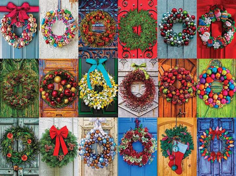 White Mountain Jigsaw Puzzle HOLIDAY WREATHS 550 Pc Christmas