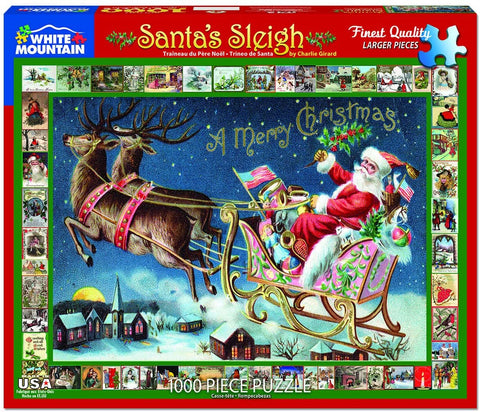White Mountain JIGSAW PUZZLE SANTA'S SLEIGH 1000pc