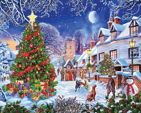 White Mountain JIGSAW PUZZLE VILLAGE CHRISTMAS TREE 1000pc