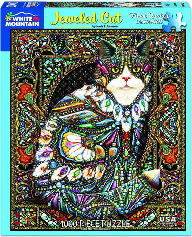 White Mountain Jigsaw Puzzle Jeweled Cat 1000pc