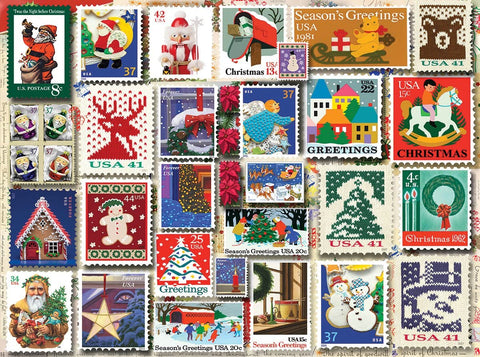 White Mountain Jigsaw Puzzle Christmas Toy Stamps 1000pc