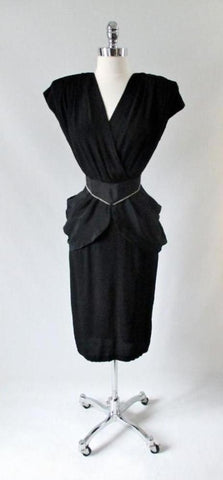 Vintage 80's Goes 40's Black Peplum Dress & Matching Rhinestone Belt XS