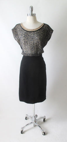Vintage 50's Pearl Collar Sheer Black Lace Knit Top