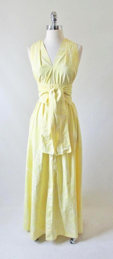 vintage 70's yellow maxi a line tent dress matching obi sash gown bombshell bettys vintage