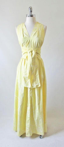Vintage 70's Sweeping Maxi Dress Matching Obi Sash Gown L