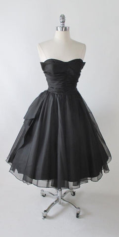 Vintage 50's Black Organdy Strapless Petal Bust Party Dress