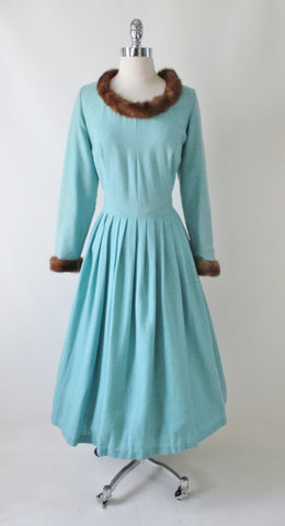 Vintage 50's Mink Trimmed Aquamarine Wool Fit & Flare Dress XL 1X Plus