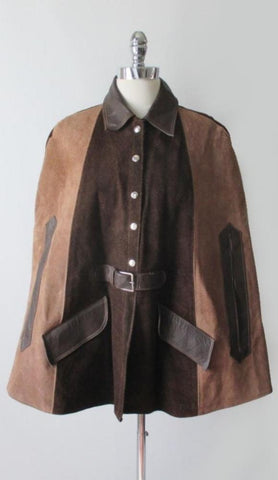 Vintage 60's MOD Brown & Tan Suede Leather Cape