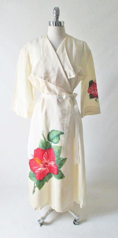 Vintage 40's 50's Rare White Taffeta Hand Painted Hawaiian Robe Dressing Gown