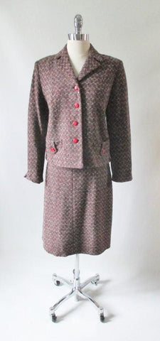 Vintage 60's Red Black White Fleck / Tweed Skirt Jacket Suit Set M