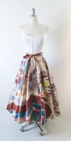 Vintage 50's Hand Painted Aztec Warrior Circle Souvenir Skirt M / L