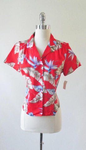 Vintage 80's Red Rayon Hawaiian Flower Top Blouse NOS M