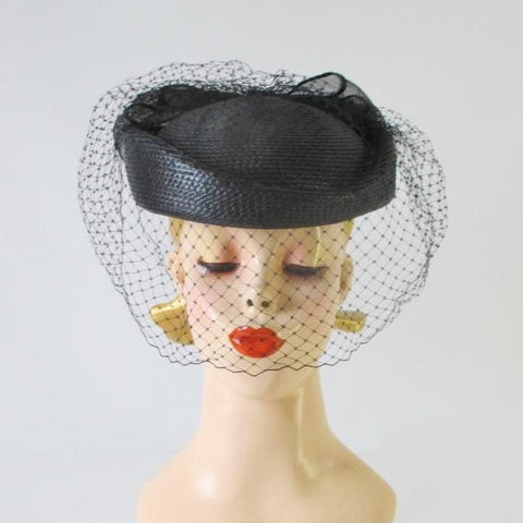 Vintage 80's Black Straw Pillbox Hat Big Bow Netted Veil