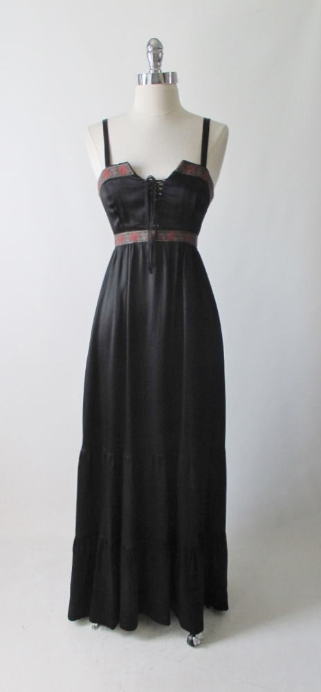 vintage 70's 80's black satin gunne sax corset prarie dress full length gown bombshell bettys vintage