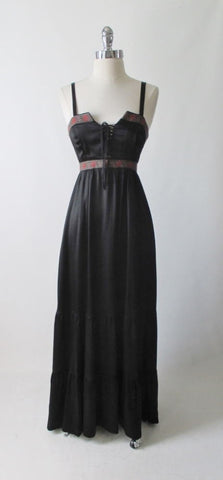 Vintage Gunne Sax Black Satin Corset Lace Gown Prairie Dress XS / XXS
