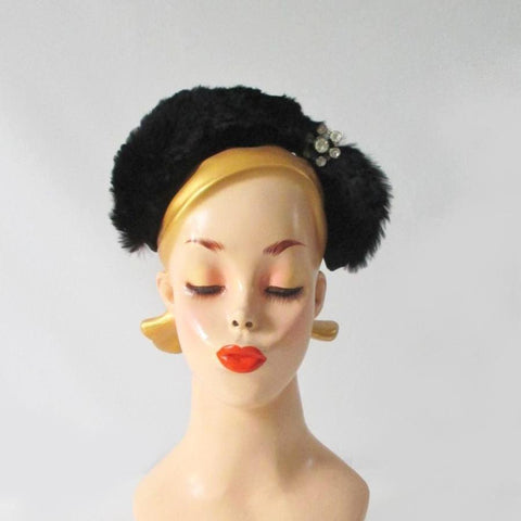Vintage 50's Black Velvet & Fur Headband Hat