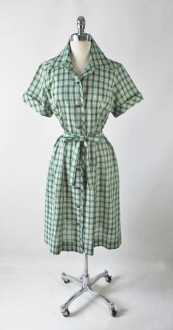 • Vintage 50s 60s Green Plaid Casual Day Dress L / XL