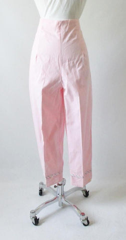 Vintage 60's 50's High Waist Pink Stripe Crop Pants New Old Stock L