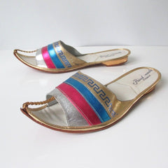 Vintage Greek Shimmering Gold Teal Pink Sandals Shoes Flats 6