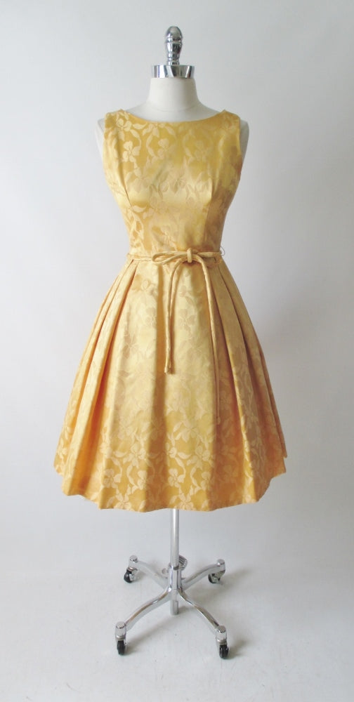 vintage 50's 60's gold damask satin full skirt party wedding special occasion formal dress bombshell bettys vintage