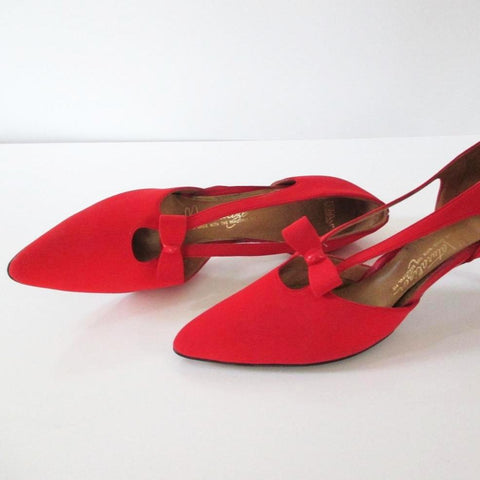Vintage 50's 60's Red Heels Bow Accent Pumps Shoes 10 N