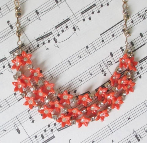 Vintage 50's 60's Red - Orange Thermoplastic / Celluloid Flower Rhinestone Bib Choker Necklace