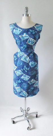 Vintage Early 50's Surfriders Blue Fish Palm Tree Hawaiian Sheath Day Dress M