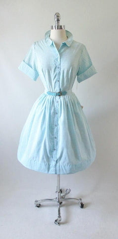 Vintage 50's 60's Blue Square Full Skirt Shirtwaist Day Dress NOS