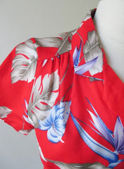 Vintage 80's Red Rayon Hawaiian Flower Top Blouse NOS M - Bombshell Bettys Vintage