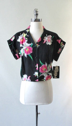 Vintage 70's 80's Black Hawaiian Rayon Blouse Top Pink Orchids NOS L