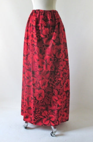 Vintage 70's Handmade Red Maxi Skirt 50's Hawaiian Fabric 1X XXL Plus