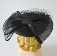Vintage 80's Black Straw Pillbox Hat Big Bow Netted Veil - Bombshell Bettys Vintage