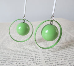 vintage 80's lime green sphere circle dangle glam new wave earrings close up