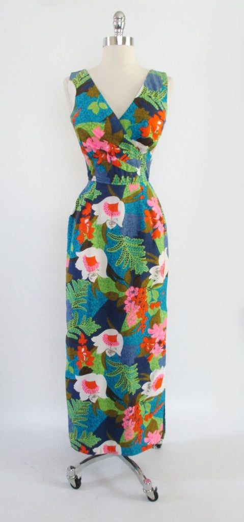 10db6655b857 Vintage 60 s Kamehameha Man-Killer Hawaiian Evening Gown Wiggle Dres ...