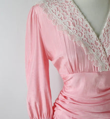 Vintage 80's Pink Lace Shawl Collar Special Occasion Dress