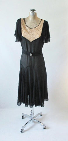 Vintage 20's  Black Chiffon and Natural / Ecru Lace Flapper Dress