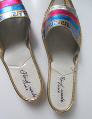 Vintage Greek Shimmering Gold Teal Pink Sandals Shoes Flats 6 - Bombshell Bettys Vintage