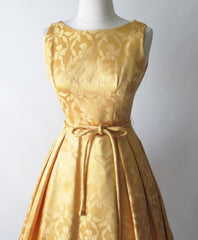 Vintage 60's Gold Damask Satin Full Skirt Party Dress M - Bombshell Bettys Vintage