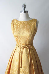 vintage 50's 60's gold damask satin full skirt party wedding special occasion formal dress bodice