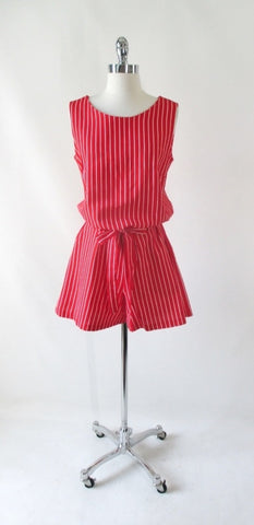 Vintage 60's Red & White Stripe Canvas Romper Shorts L