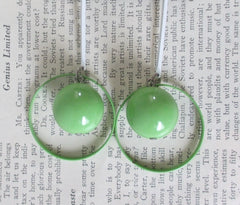 vintage 80's lime green sphere circle dangle glam new wave earrings full