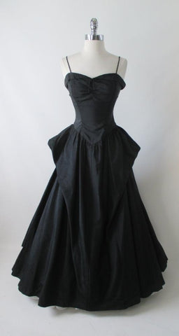 Vintage 50's Black Moire Taffeta Formal Evening Ball Gown S