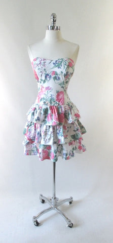 Vintage 80's 90's Garden Flowers Strapless Mini Dress XS