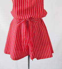Vintage 60's Red & White Stripe Canvas Romper Shorts L - Bombshell Bettys Vintage
