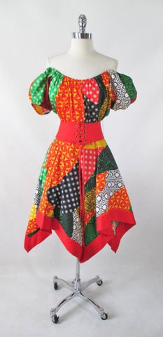 Vintage 70's Off The Shoulders Patchwork Gypsy Dress S
