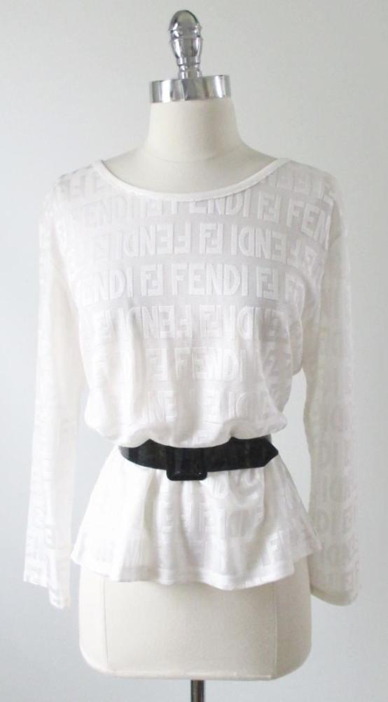 vintage Fendi white zucca sheer logo top shirt blouse 80's gallery