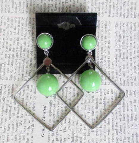 Vintage 80's Big Lime Green Diamond Dangle New Wave Glam Earrings