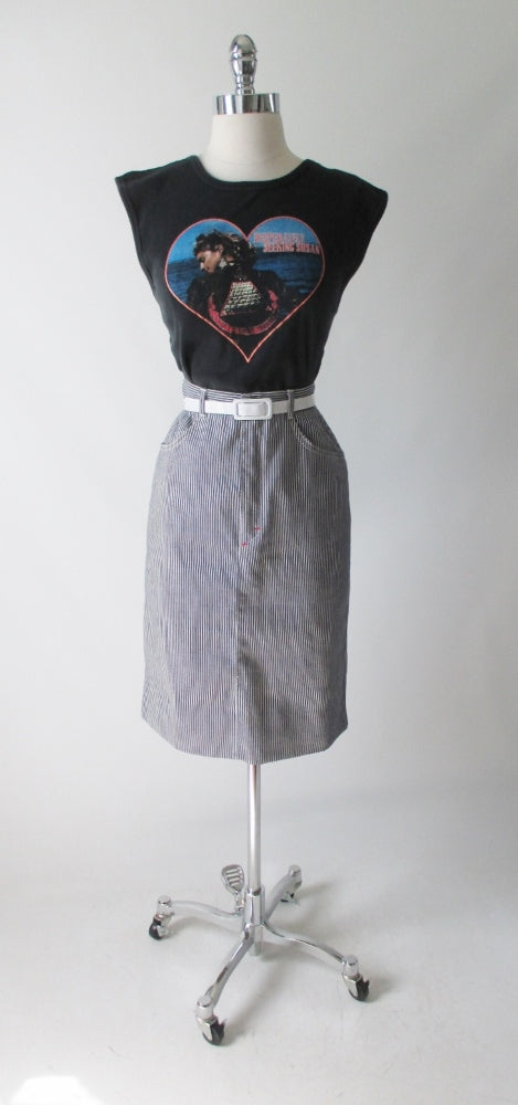 vintage 80's hickory striped denim pencil skirt J Lerbret BIS Paris bombshell bettys vintage gallery